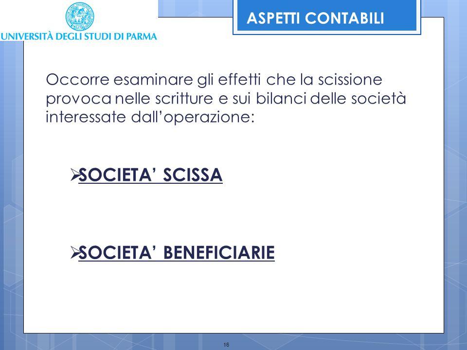 16 Occorre esaminare gli effetti che la scissione provoca nelle scritture e sui bilanci delle società interessate dall'operazione:  SOCIETA' SCISSA 