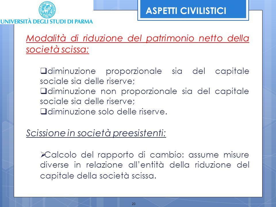 20 Modalità di riduzione del patrimonio netto della società scissa:  diminuzione proporzionale sia del capitale sociale sia delle riserve;  diminuzi