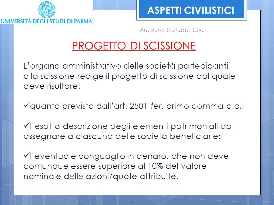 28 ASPETTI FISCALI POSIZIONI SOGGETTIVE Specifica normativa, nel caso di scissione, sono previste per le cosiddette posizioni soggettive (ex art.