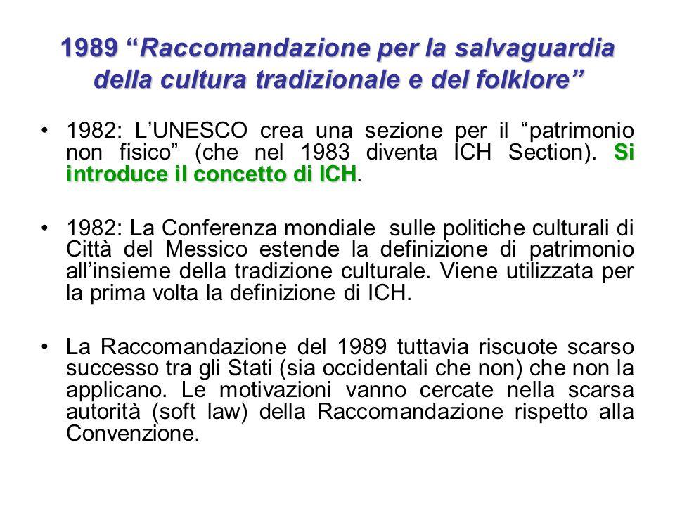 """1989 """"Raccomandazione per la salvaguardia della cultura tradizionale e del folklore"""" Si introduce il concetto di ICH1982: L'UNESCO crea una sezione pe"""