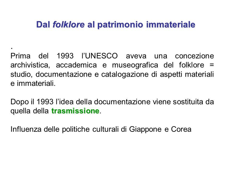 Dal folklore al patrimonio immateriale Dal folklore al patrimonio immateriale. Prima del 1993 l'UNESCO aveva una concezione archivistica, accademica e