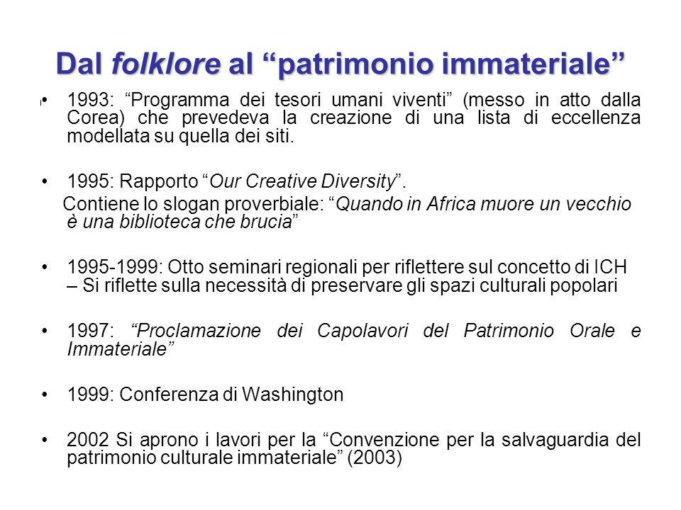 """Dal folklore al """"patrimonio immateriale"""" 1993: """"Programma dei tesori umani viventi"""" (messo in atto dalla Corea) che prevedeva la creazione di una list"""