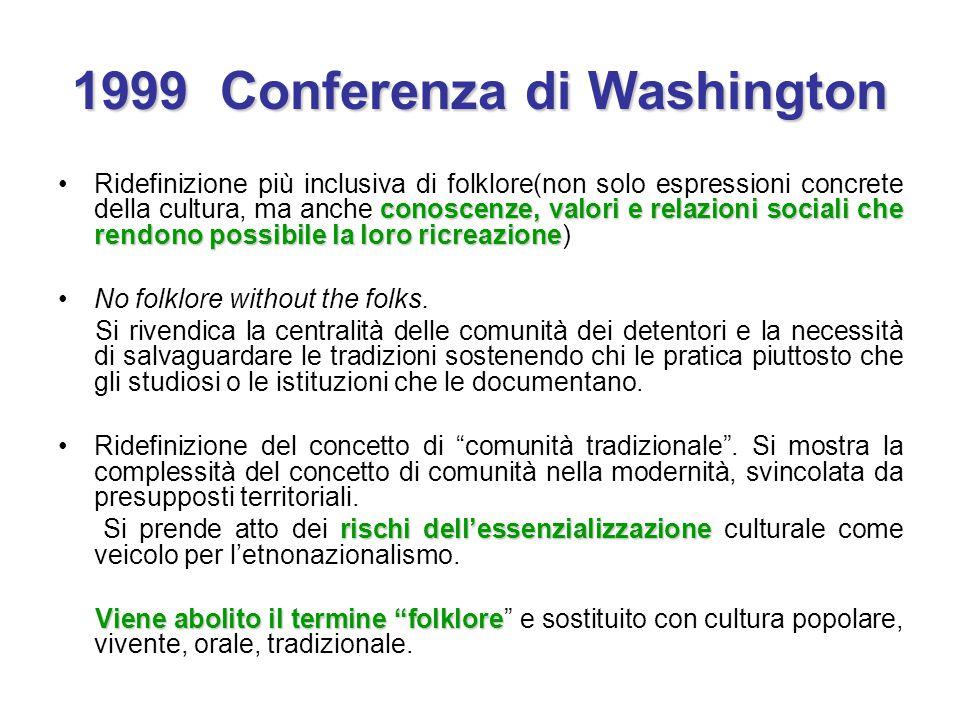 1999 Conferenza di Washington conoscenze, valori e relazioni sociali che rendono possibile la loro ricreazioneRidefinizione più inclusiva di folklore(