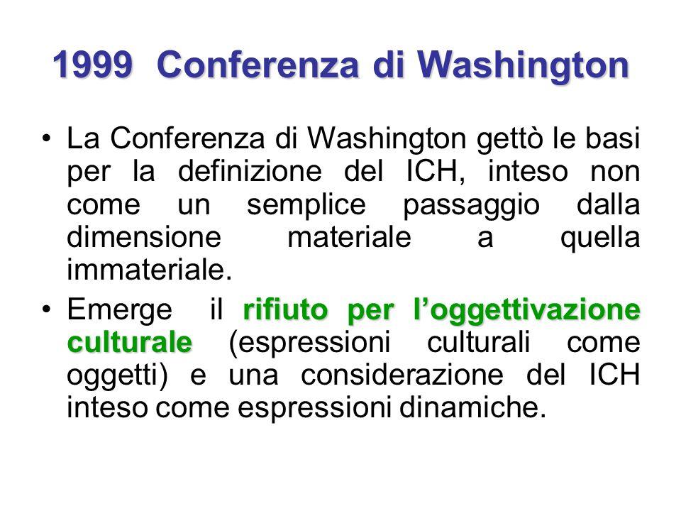 1999 Conferenza di Washington La Conferenza di Washington gettò le basi per la definizione del ICH, inteso non come un semplice passaggio dalla dimens