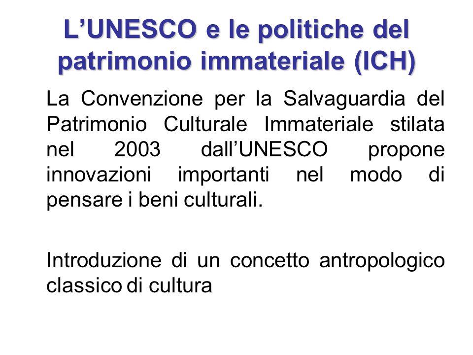 1989 Raccomandazione per la salvaguardia della cultura tradizionale e del folklore Si introduce il concetto di ICH1982: L'UNESCO crea una sezione per il patrimonio non fisico (che nel 1983 diventa ICH Section).