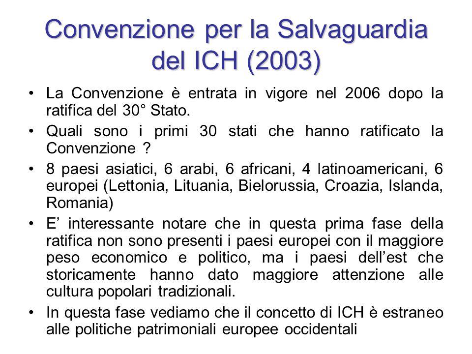 Convenzione per la Salvaguardia del ICH (2003) La Convenzione è entrata in vigore nel 2006 dopo la ratifica del 30° Stato. Quali sono i primi 30 stati