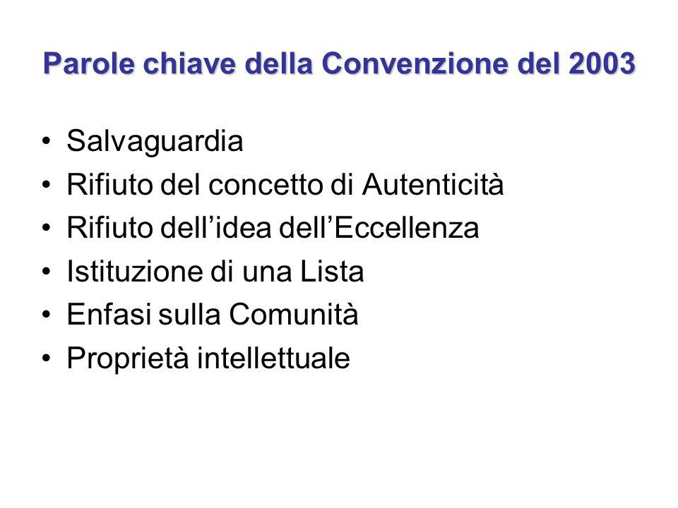 Parole chiave della Convenzione del 2003 Salvaguardia Rifiuto del concetto di Autenticità Rifiuto dell'idea dell'Eccellenza Istituzione di una Lista E