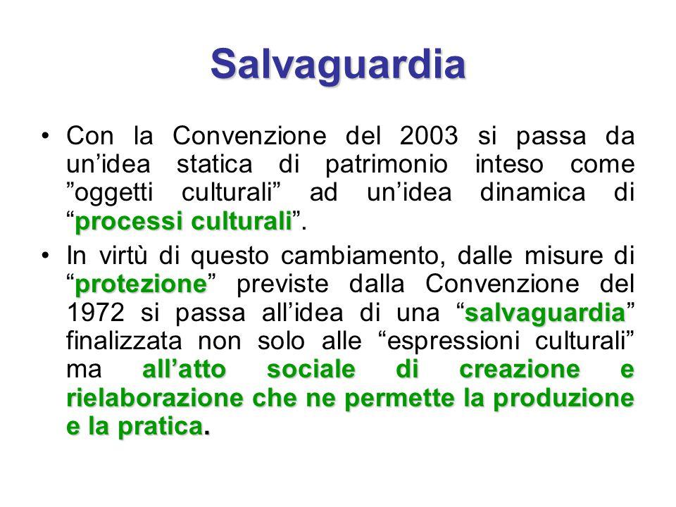"""Salvaguardia processi culturaliCon la Convenzione del 2003 si passa da un'idea statica di patrimonio inteso come """"oggetti culturali"""" ad un'idea dinami"""
