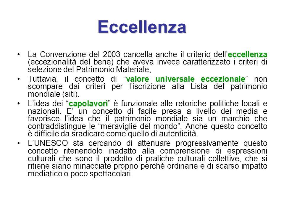 Eccellenza eccellenzaLa Convenzione del 2003 cancella anche il criterio dell'eccellenza (eccezionalità del bene) che aveva invece caratterizzato i cri