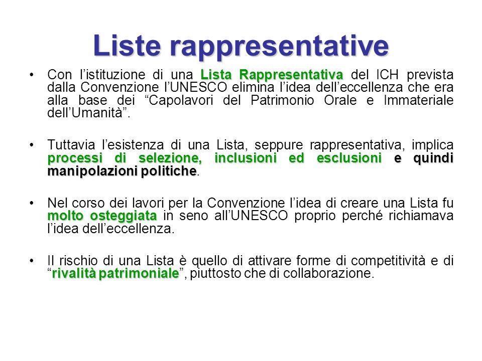 Liste rappresentative Lista RappresentativaCon l'istituzione di una Lista Rappresentativa del ICH prevista dalla Convenzione l'UNESCO elimina l'idea d