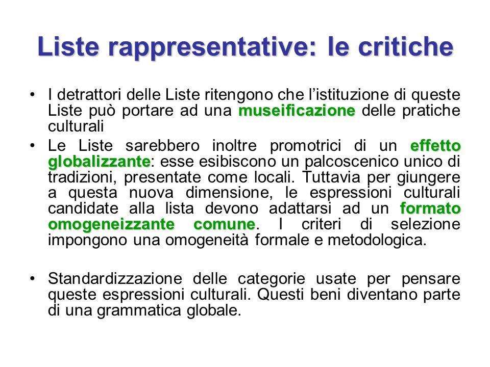 Liste rappresentative: le critiche museificazioneI detrattori delle Liste ritengono che l'istituzione di queste Liste può portare ad una museificazion