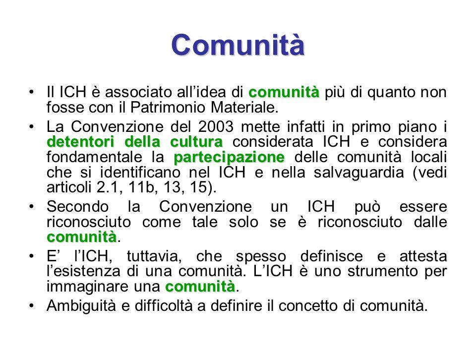 Comunità comunitàIl ICH è associato all'idea di comunità più di quanto non fosse con il Patrimonio Materiale. detentori della cultura partecipazioneLa
