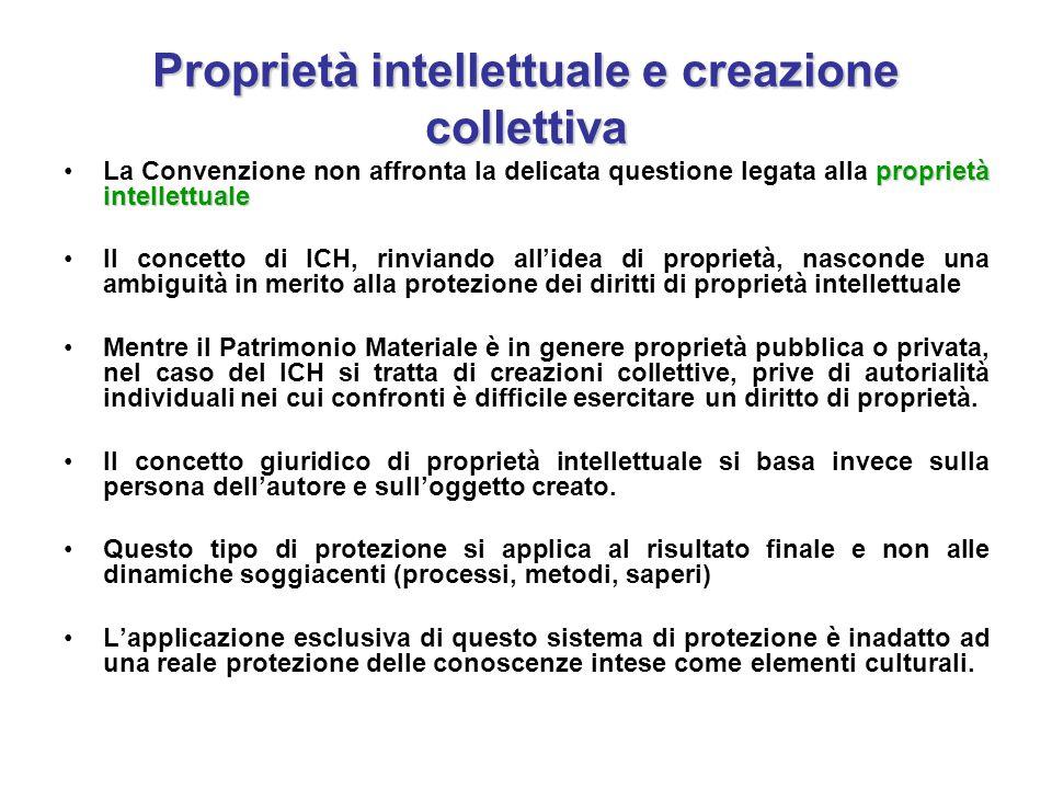 Proprietà intellettuale e creazione collettiva proprietà intellettualeLa Convenzione non affronta la delicata questione legata alla proprietà intellet