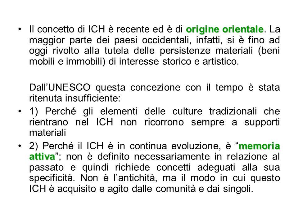 La storia del concetto di ICH L'idea del ICH e la sua formulazione sono il frutto di un lungo processo di riflessione sul concetto di patrimonio e cultura che ha attraversato l'UNESCO a partire dagli anni '70.