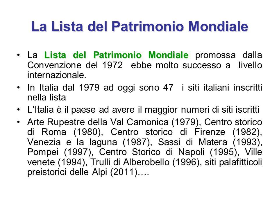 La Lista del Patrimonio Mondiale Lista del Patrimonio MondialeLa Lista del Patrimonio Mondiale promossa dalla Convenzione del 1972 ebbe molto successo