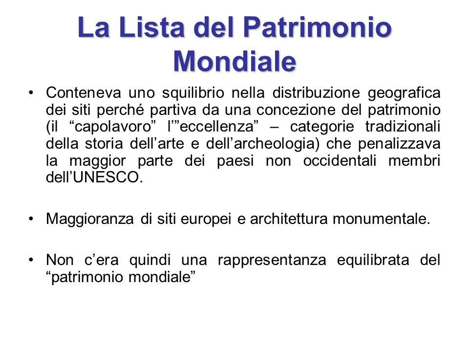 La Lista del Patrimonio Mondiale Conteneva uno squilibrio nella distribuzione geografica dei siti perché partiva da una concezione del patrimonio (il