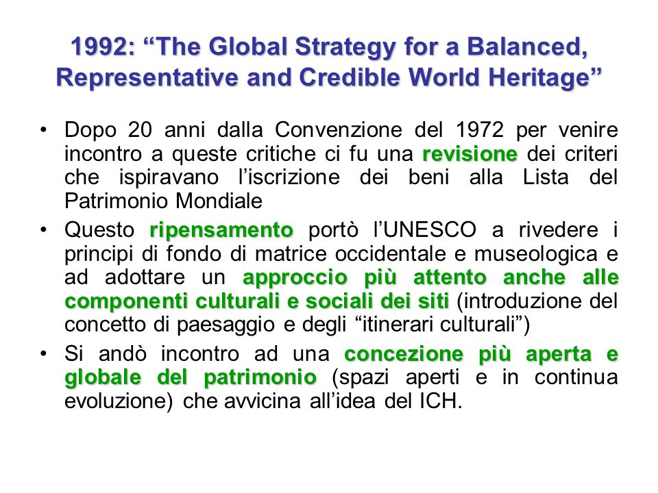 "1992: ""The Global Strategy for a Balanced, Representative and Credible World Heritage"" revisioneDopo 20 anni dalla Convenzione del 1972 per venire inc"