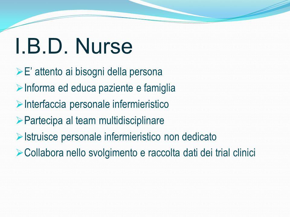 I.B.D. Nurse  E' attento ai bisogni della persona  Informa ed educa paziente e famiglia  Interfaccia personale infermieristico  Partecipa al team