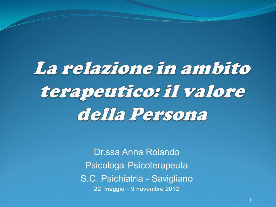 Dr.ssa Anna Rolando Psicologa Psicoterapeuta S.C. Psichiatria - Savigliano 22 maggio – 9 novembre 2012 1