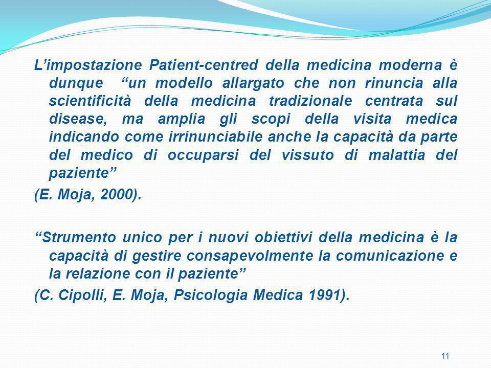 """L'impostazione Patient-centred della medicina moderna è dunque """"un modello allargato che non rinuncia alla scientificità della medicina tradizionale c"""