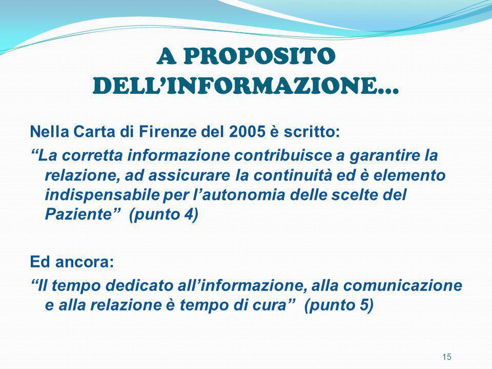 """A PROPOSITO DELL'INFORMAZIONE… Nella Carta di Firenze del 2005 è scritto: """"La corretta informazione contribuisce a garantire la relazione, ad assicura"""