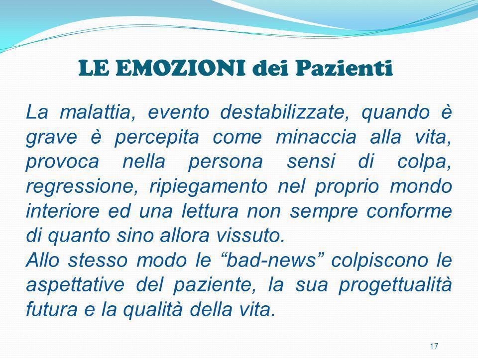 LE EMOZIONI dei Pazienti 17 La malattia, evento destabilizzate, quando è grave è percepita come minaccia alla vita, provoca nella persona sensi di col