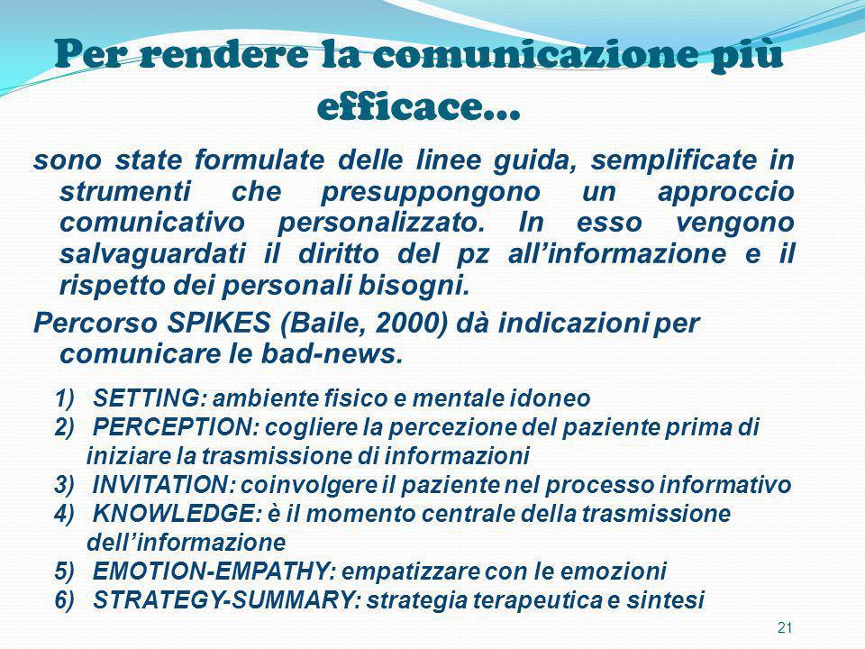Per rendere la comunicazione più efficace… sono state formulate delle linee guida, semplificate in strumenti che presuppongono un approccio comunicati