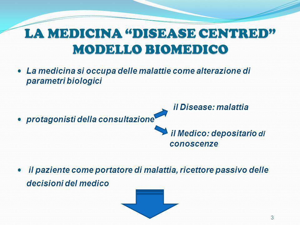 """LA MEDICINA """"DISEASE CENTRED"""" MODELLO BIOMEDICO La medicina si occupa delle malattie come alterazione di parametri biologici il Disease: malattia prot"""