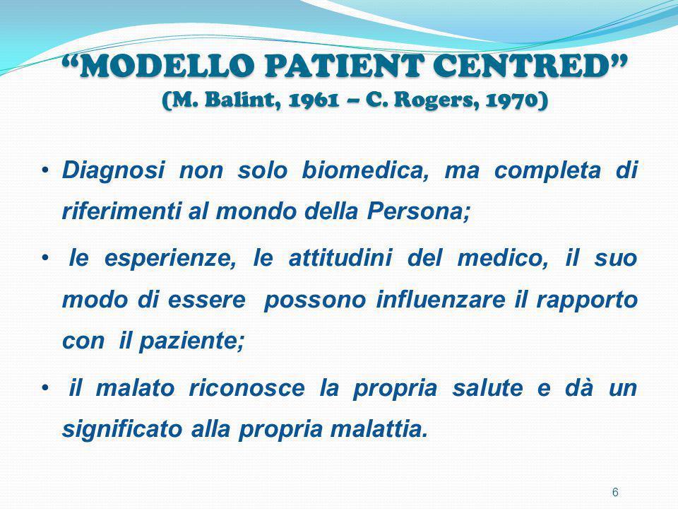"""""""MODELLO PATIENT CENTRED"""" (M. Balint, 1961 – C. Rogers, 1970) Diagnosi non solo biomedica, ma completa di riferimenti al mondo della Persona; le esper"""