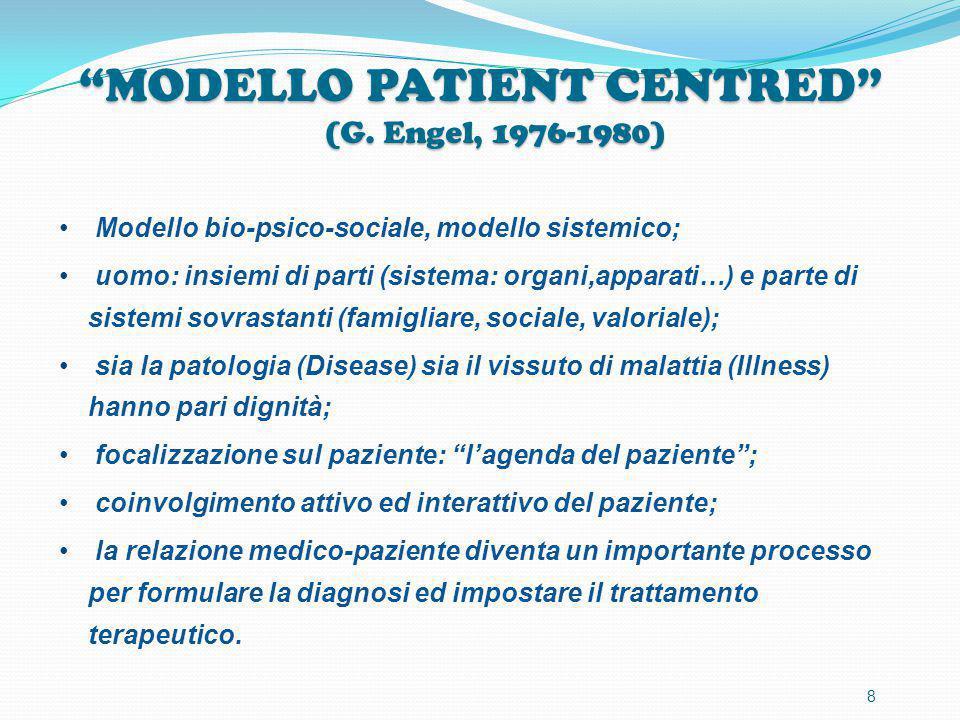 """""""MODELLO PATIENT CENTRED"""" (G. Engel, 1976-1980) Modello bio-psico-sociale, modello sistemico; uomo: insiemi di parti (sistema: organi,apparati…) e par"""