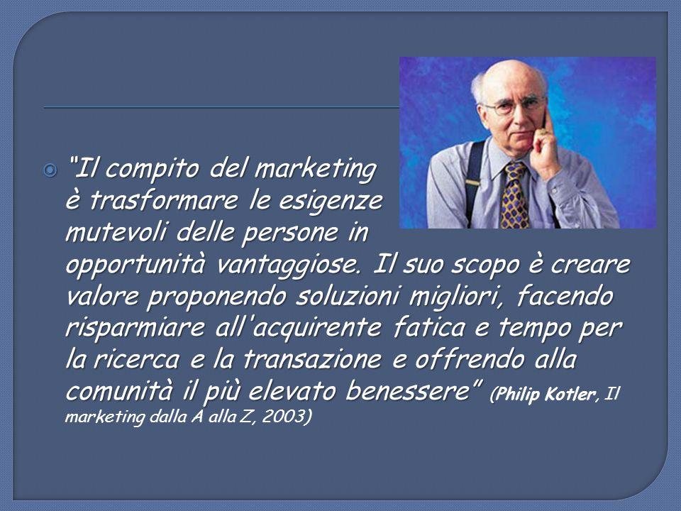 """ """"Il compito del marketing è trasformare le esigenze mutevoli delle persone in opportunità vantaggiose. Il suo scopo è creare valore proponendo soluz"""