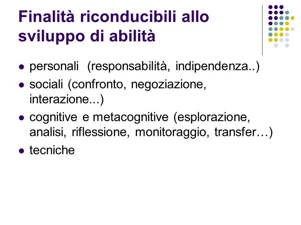 Finalità riconducibili allo sviluppo di abilità personali (responsabilità, indipendenza..) sociali (confronto, negoziazione, interazione...) cognitive