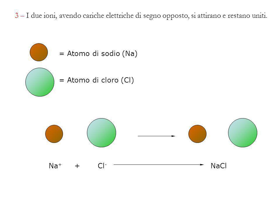 Na + + Cl - NaCl = Atomo di sodio (Na) = Atomo di cloro (Cl) 3 – I due ioni, avendo cariche elettriche di segno opposto, si attirano e restano uniti.