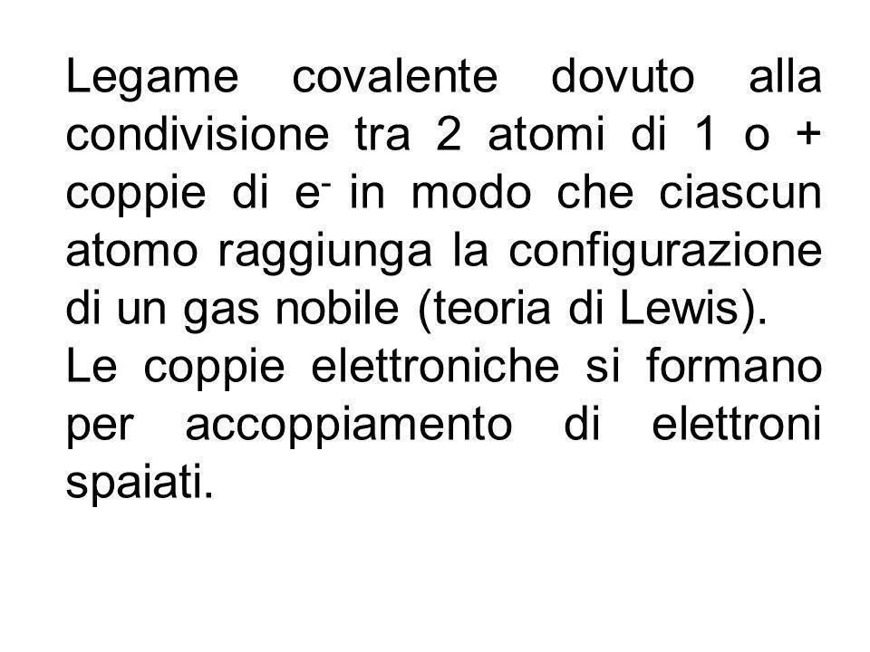 Legame covalente dovuto alla condivisione tra 2 atomi di 1 o + coppie di e - in modo che ciascun atomo raggiunga la configurazione di un gas nobile (teoria di Lewis).