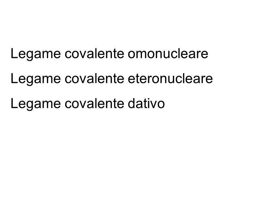 Legame covalente omonucleare Legame covalente eteronucleare Legame covalente dativo