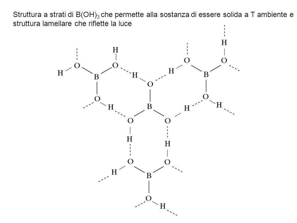 Struttura a strati di B(OH) 3 che permette alla sostanza di essere solida a T ambiente e struttura lamellare che riflette la luce