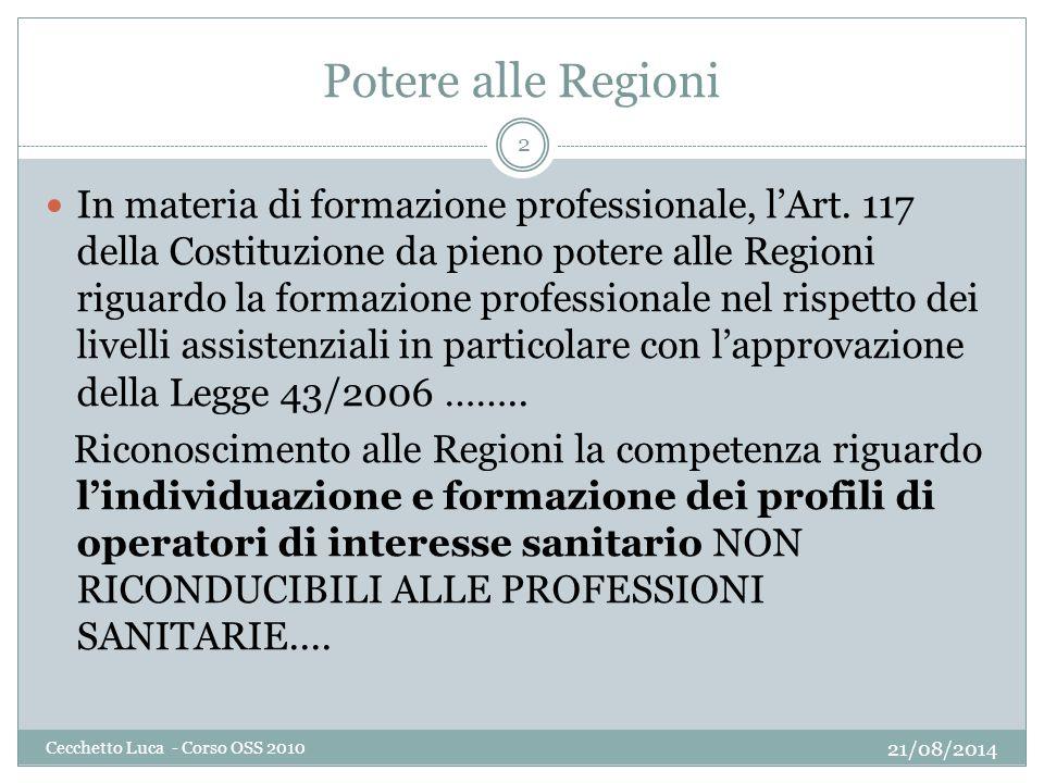 Potere alle Regioni 21/08/2014 Cecchetto Luca - Corso OSS 2010 2 In materia di formazione professionale, l'Art. 117 della Costituzione da pieno potere