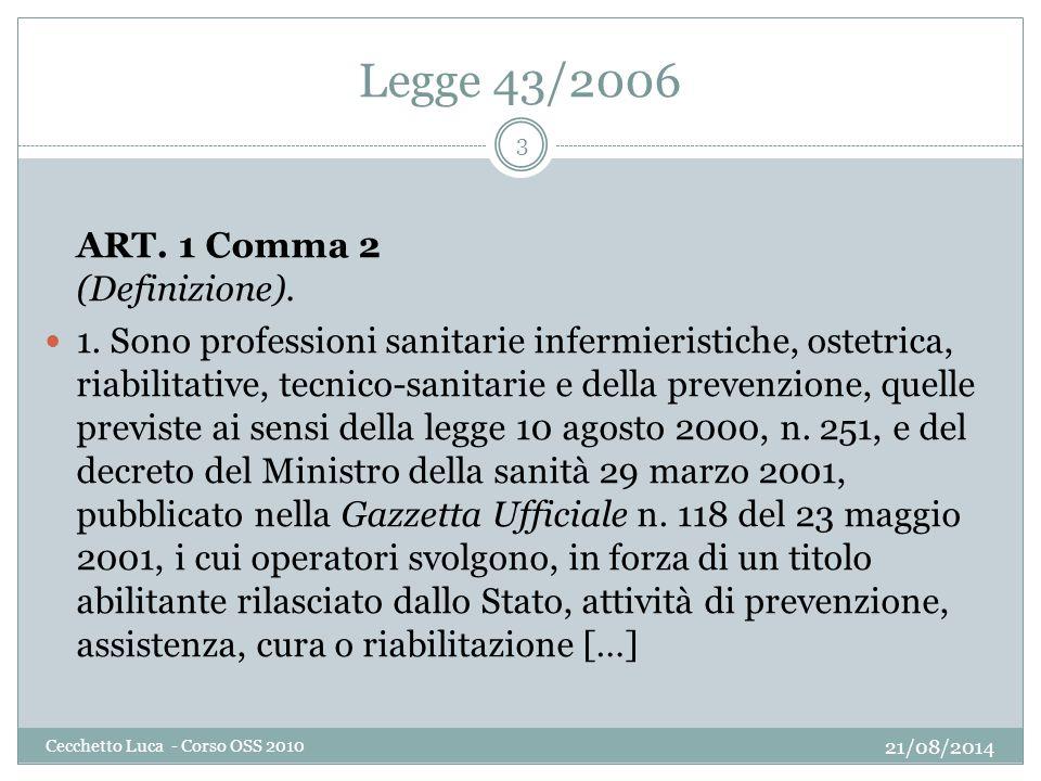 Legge 43/2006 21/08/2014 Cecchetto Luca - Corso OSS 2010 3 ART. 1 Comma 2 (Definizione). 1. Sono professioni sanitarie infermieristiche, ostetrica, ri