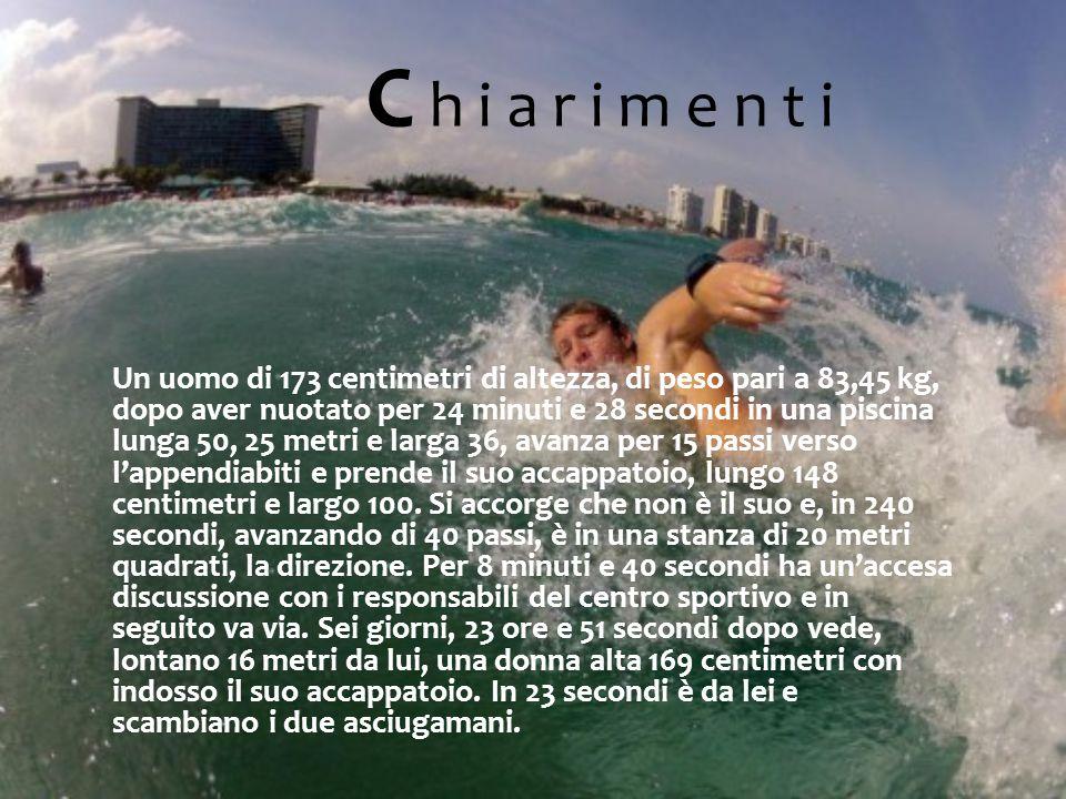 Un uomo di 173 centimetri di altezza, di peso pari a 83,45 kg, dopo aver nuotato per 24 minuti e 28 secondi in una piscina lunga 50, 25 metri e larga