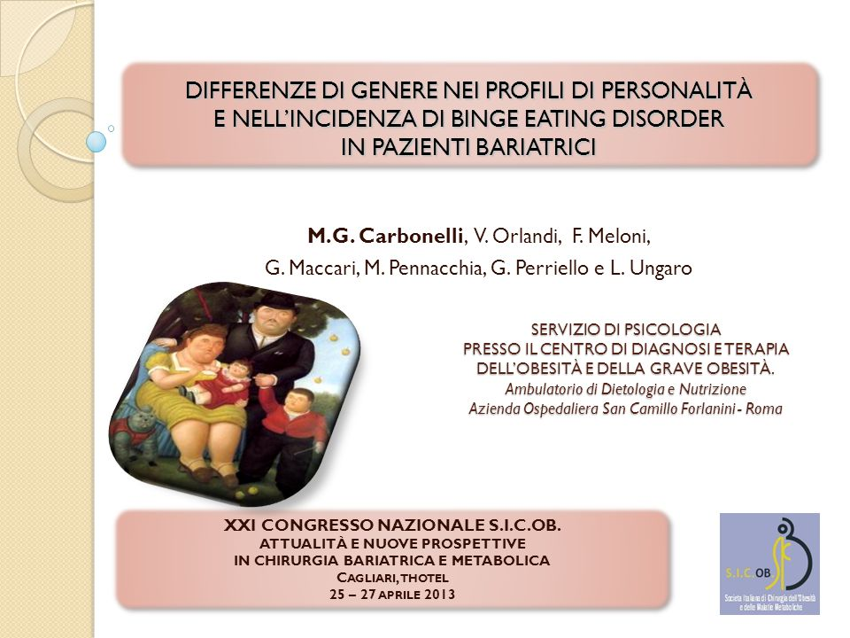 DIFFERENZE DI GENERE NEI PROFILI DI PERSONALITÀ E NELL'INCIDENZA DI BINGE EATING DISORDER IN PAZIENTI BARIATRICI M.G.