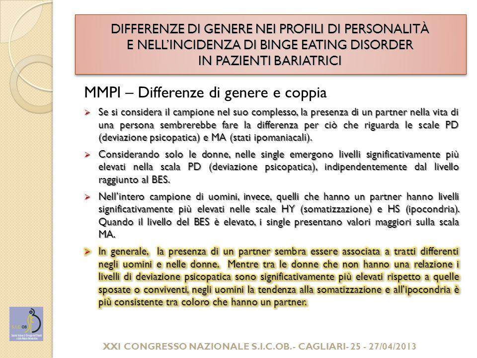 DIFFERENZE DI GENERE NEI PROFILI DI PERSONALITÀ E NELL'INCIDENZA DI BINGE EATING DISORDER IN PAZIENTI BARIATRICI CONCLUSIONI E SVILUPPI DELLA RICERCA  I comportamenti di abbuffata come spia di disturbi psicopatologici di rilevanza clinica  Importanza dell'assessment psicologico preliminare all'intervento e del percorso di consulenza e/o di psicoterapia sia prima che dopo l'intervento con focalizzazione sulla qualità della vita  Attenzione all'accompagnamento e al sostegno alle donne gravi obese, maggiormente fragili dal punto di vista psicologico  Sviluppi della ricerca: rilevazione degli indicatori relativi alla qualità della vita delle persone gravi obese e implementazione di percorsi efficaci di follow up.