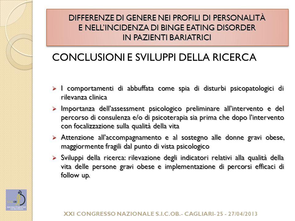 GRAZIE PER L'ATTENZIONE! XXI CONGRESSO NAZIONALE S.I.C.OB. - CAGLIARI- 25 - 27/04/2013