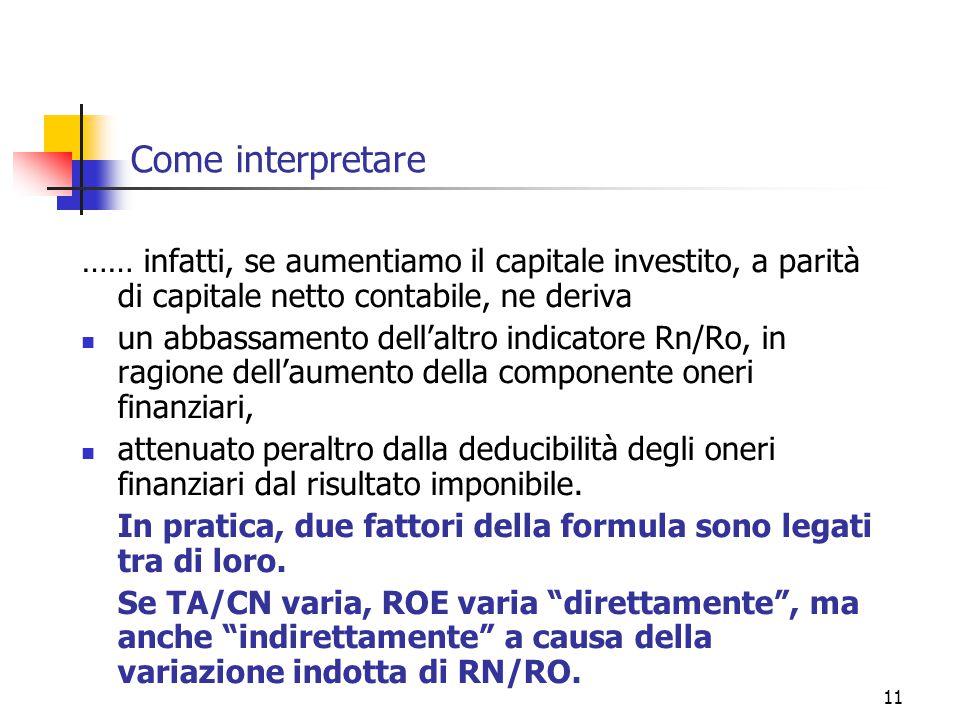 11 Come interpretare …… infatti, se aumentiamo il capitale investito, a parità di capitale netto contabile, ne deriva un abbassamento dell'altro indic
