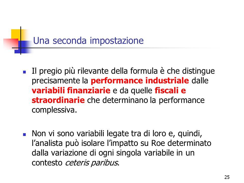 25 Una seconda impostazione Il pregio più rilevante della formula è che distingue precisamente la performance industriale dalle variabili finanziarie