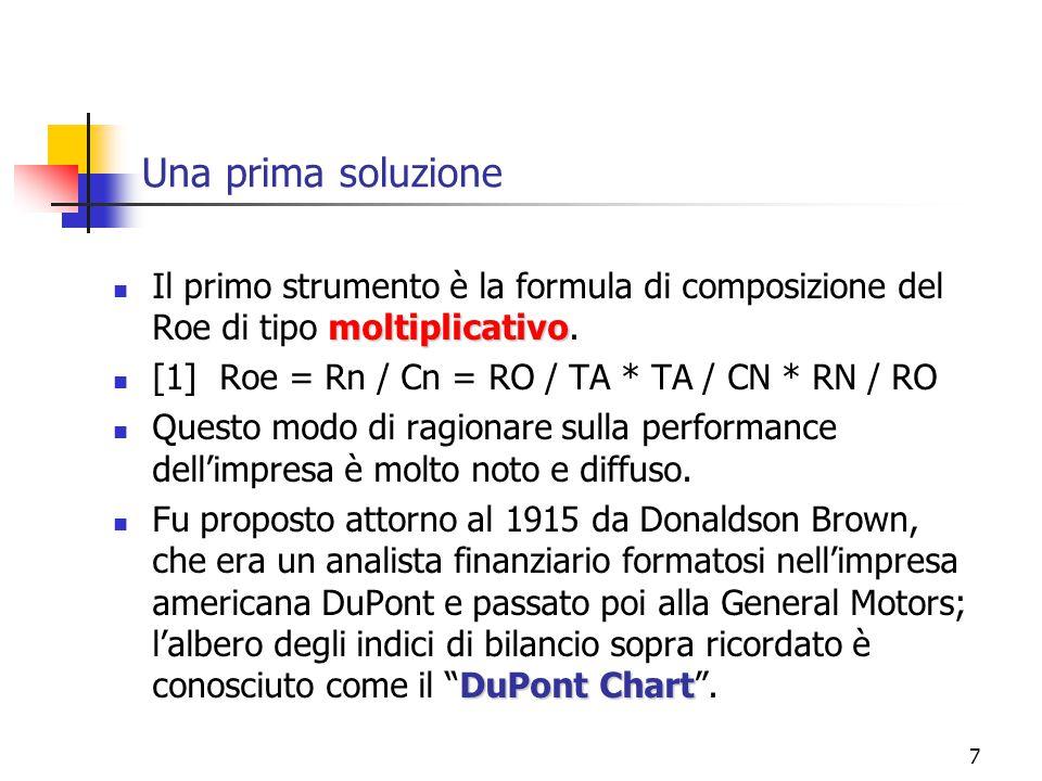 7 Una prima soluzione moltiplicativo Il primo strumento è la formula di composizione del Roe di tipo moltiplicativo. [1] Roe = Rn / Cn = RO / TA * TA