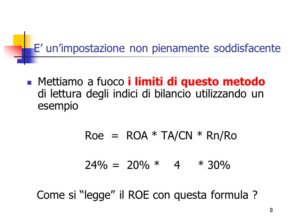 9 E' una soluzione insoddisfacente Si legge nel seguente modo: gli azionisti ottengono un risultato sintetico complessivo del 24%, determinato: da un rendimento dell'80% dalla gestione operativa: infatti, ad 1 euro di mezzi propri spetta un rendimento di 0,8 pari ad un ROA del 20% per 4 euro di CI  (ROA*TA)/CN  es.