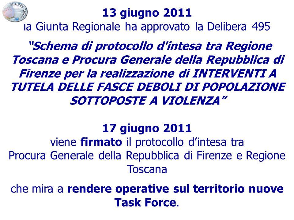 """13 giugno 2011 la Giunta Regionale ha approvato la Delibera 495 """"Schema di protocollo d'intesa tra Regione Toscana e Procura Generale della Repubblica"""