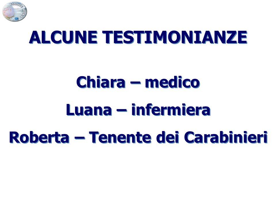 ALCUNE TESTIMONIANZE Chiara – medico Luana – infermiera Roberta – Tenente dei Carabinieri ALCUNE TESTIMONIANZE Chiara – medico Luana – infermiera Robe