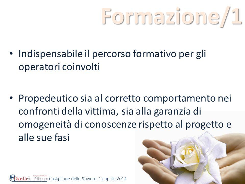 Formazione/1 Indispensabile il percorso formativo per gli operatori coinvolti Propedeutico sia al corretto comportamento nei confronti della vittima,