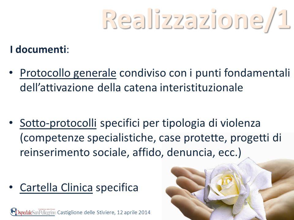 Realizzazione/1 Protocollo generale condiviso con i punti fondamentali dell'attivazione della catena interistituzionale Sotto-protocolli specifici per